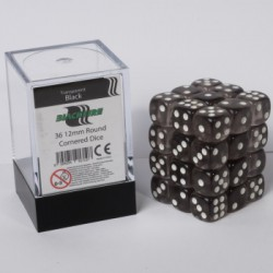 Transparante Dobbelstenen 12mm: Zwart