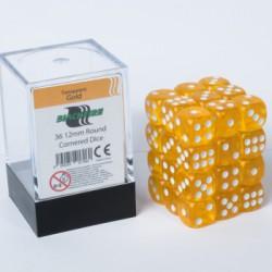 Transparante Dobbelstenen 12mm: Goud
