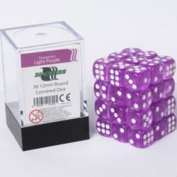 Transparante Dobbelstenen 12mm: Licht paars