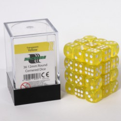 Transparante Dobbelstenen 12mm: Geel